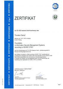 Zertifikat ISO 27001 Foundation Thorsten Dampf